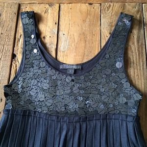 Empire Waist Slate Blue Sequin Bubble Dress
